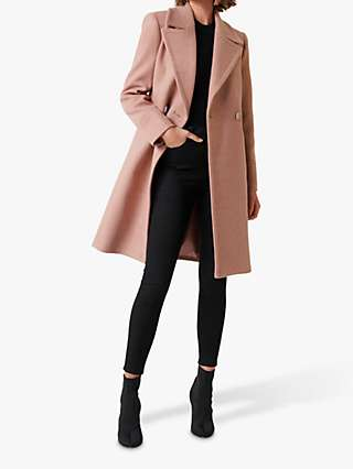Forever New Rose Double Breasted Coat, Pink