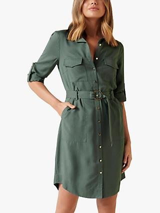 Forever New Portia Belted Mini Shirt Dress, Olive Grove