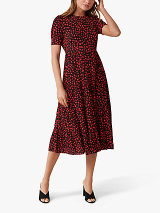 Forever New Betty Floated Spot Midi Dress, Red