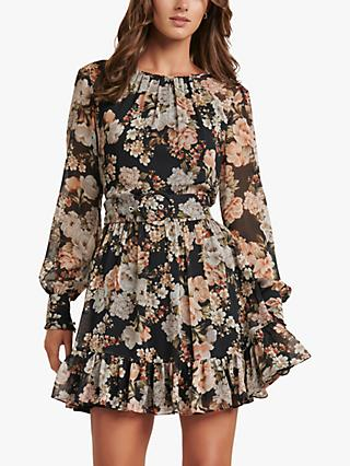 Forever New Abigail Belted Floral Mini Dress, Vintage Amber