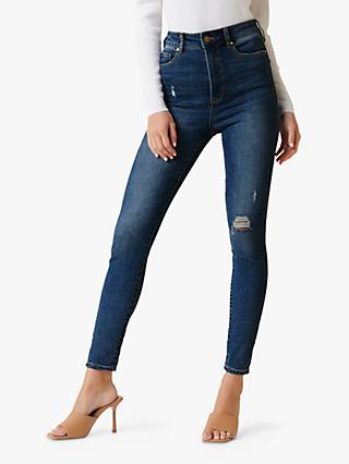 Forever New Bella High Rise Jeans, Belize Blue Distress