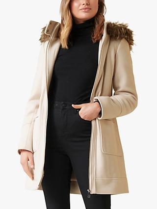 Forever New Fran Faux Fur Coat, Cream