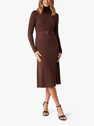 Forever New Stephanie Funnel Neck Midi Dress, Chocolate