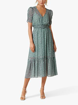 Forever New Freya Abstract Print Midi Dress, Winter Speckle