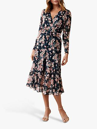 Forever New Floating Blossom Floral Midi Wrap Dress, Multi