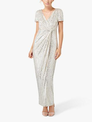 Forever New Shea Draped Embellished Maxi Dress, Silver Sequin