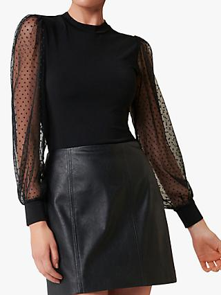 Forever New Tash Dobby Mesh Top, Black