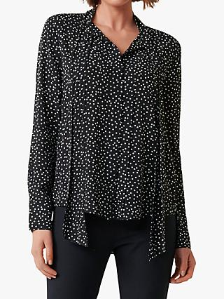 Forever New Harriet Neck Spot Blouse, Clustered Black