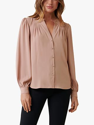 Forever New Moira Yoke Shirt, Spiced Camel