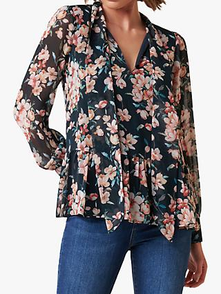 Forever New Elena Tie Neck Floral Top, Floating Blossom