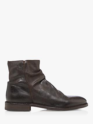 Bertie Court Leather Ankle Boots, Dark Brown