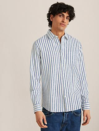 John Lewis & Partners Linen Cotton Heather Stripe Slim Fit Shirt