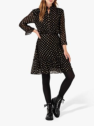 Brora Metallic Embellished Shirt Mini Dress, Black/Gold
