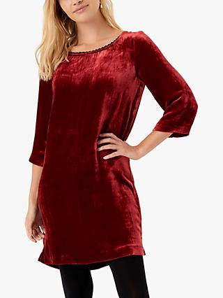 Brora Silk Velvet Tunic Mini Dress, Hawthorn