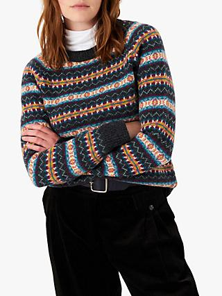 Brora Wool Fair Isle Jumper, Charcoal