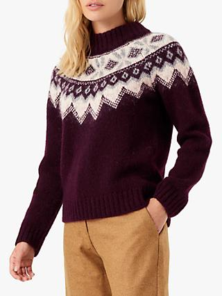 Brora Alpaca Blend Fairisle Print Funnel Neck Jumper