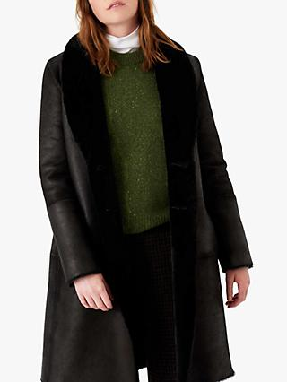 Brora Reversible Sheepskin Coat, Black