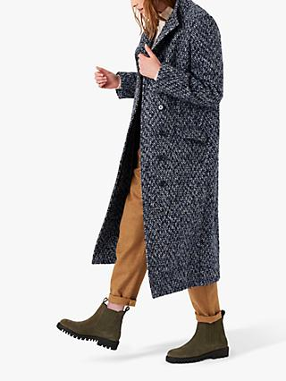 Brora Textured Wool Coat, Navy/Silver