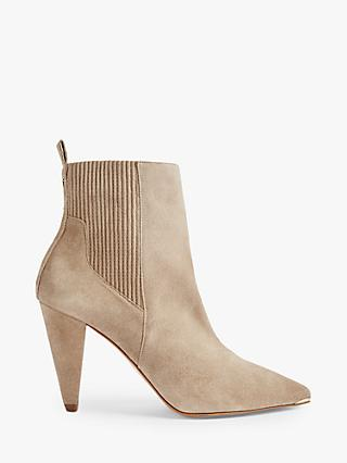 Ted Baker Conelas Suede Cone Heel Ankle Boots, Taupe