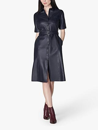 L.K.Bennett Gaia Leather Shirt Dress, Midnight Blue