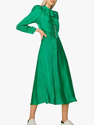 L.K.Bennett Kiera Burnout Stripe Midi Dress, Emerald