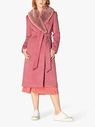 L.K.Bennett Ava Wool Blend Mohair Collar Coat, Pale Pink