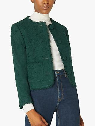 L.K.Bennett Bernice Tweed Jacket, Forest Green