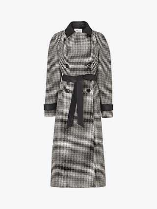 L.K.Bennett Navetta Dogtooth Print Trench Coat, Black/White