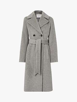 L.K.Bennett Orfeo Longline Wool Blend Trench Coat, Light Grey