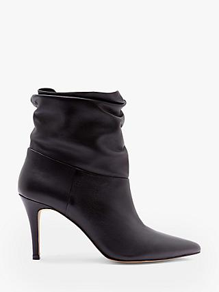 Mint Velvet Anya Leather Slouchy Ankle Boots, Black