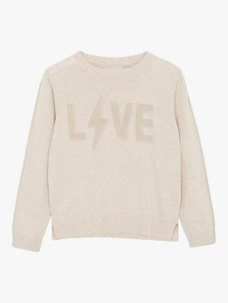 Mintie by Mint Velvet Girls' Love Lightning Bolt Jumper, Neutral