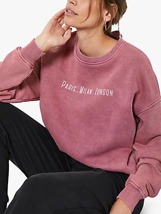 Mint Velvet Cities Slogan Sweatshirt, Pink
