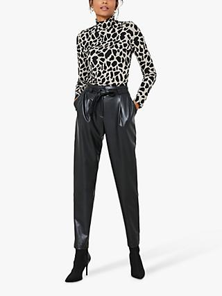 Mint Velvet Faux Leather Tie Waist Trousers, Black