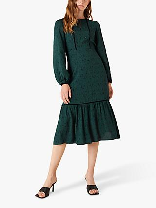 Monsoon Abstract Print Midi Dress, Dark Green
