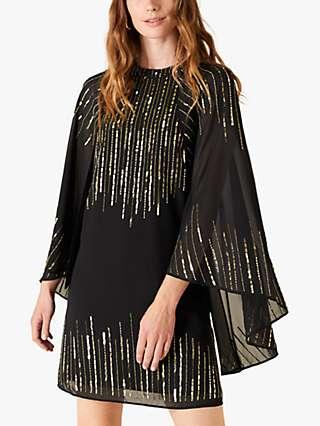Monsoon Courtney Sequin Dress, Black
