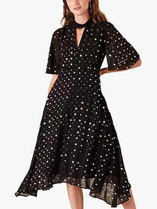 Monsoon Demetria Sequin Dress, Black
