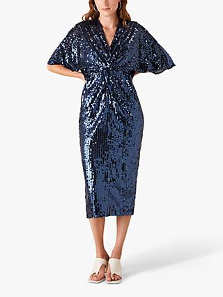 Monsoon Symba Sequin Midi Dress, Navy
