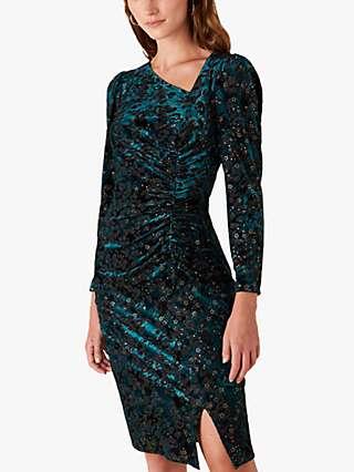 Monsoon Sadie Leopard Spot and Star Print Dress, Teal