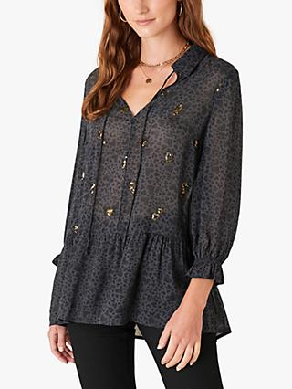 Monsoon Heart Print Sequin Blouse, Grey