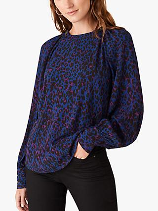 Monsoon Animal Print Blouse, Blue/Multi