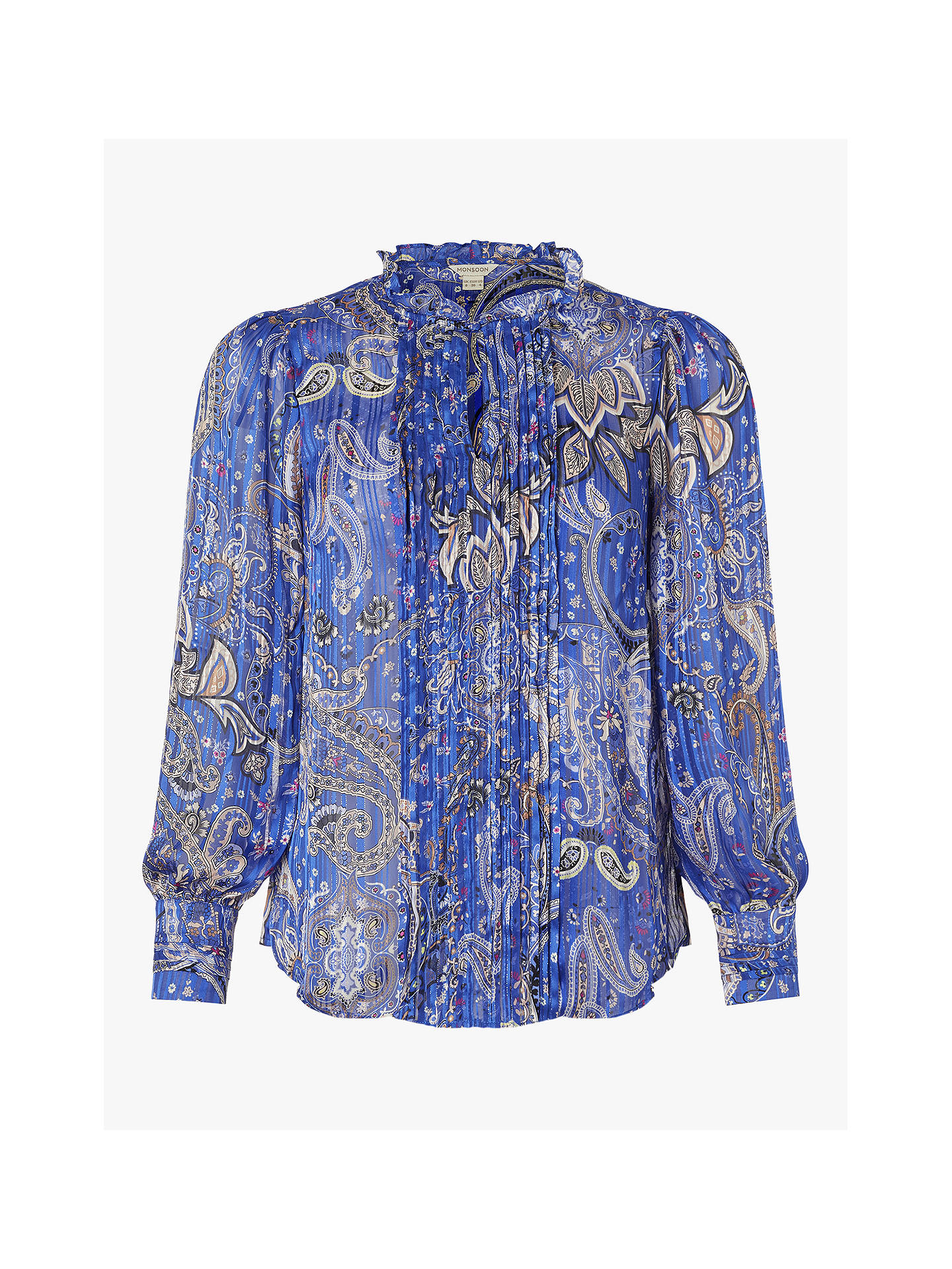 Buy Monsoon Paisley Blouse, Cobalt, 8 Online at johnlewis.com