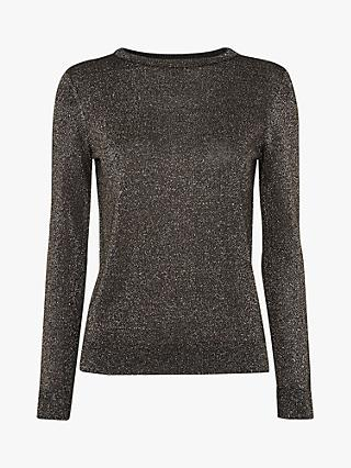 Whistles Sparkle Knit Jumper, Silver