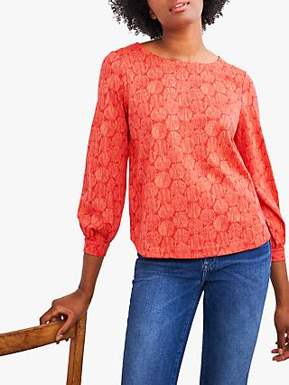 White Stuff Printed Puff Sleeve Top, Red