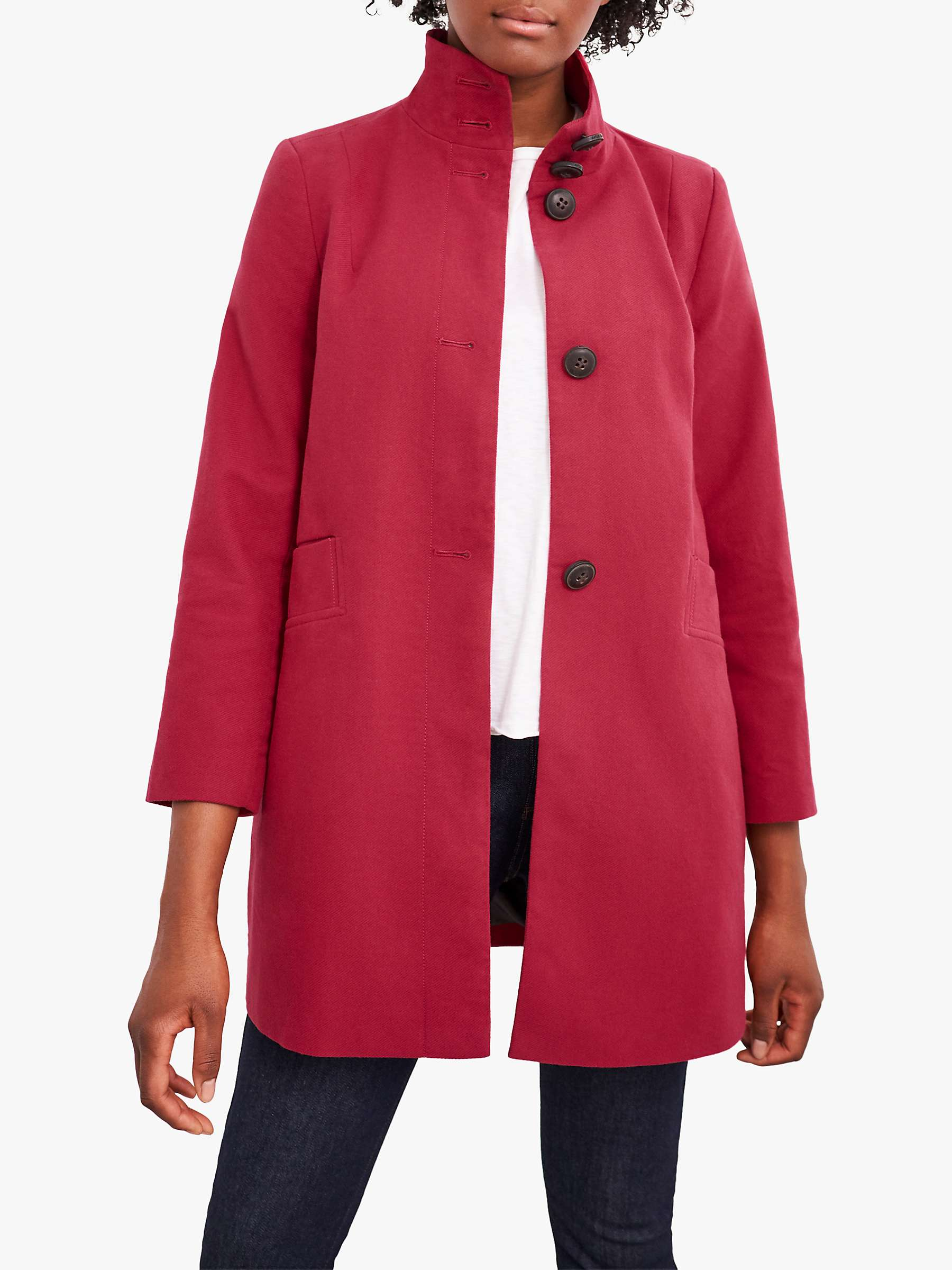 White Stuff Kenley Moleskin Twill Coat, Dark Red