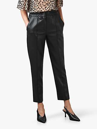 Rebecca Taylor Vegan Leather Tapered Trousers, Black