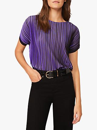 Phase Eight Pacey Pleated Jersey Top, Black/Purple