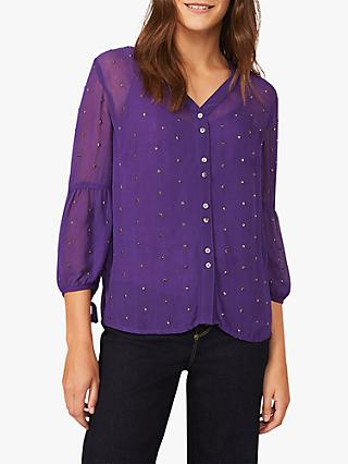 Phase Eight Coray Studded Blouse, Electric Purple