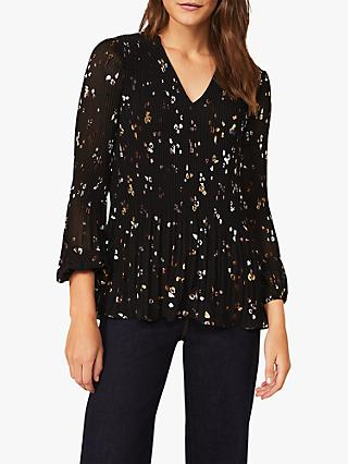 Phase Eight Ella V-Neck Disty Floral Print Blouse, Black/Multi