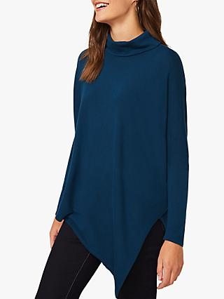Phase Eight Melinda Asymmetric Hemline Cowl Neck Knit Top, Petrol