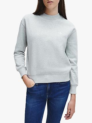 Calvin Klein Jenas Embroidered Logo Sweatshirt, Light Grey Heather
